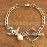 Mockingjay bracelet with Katniss Bow and Peeta Pearl by luckyvicky