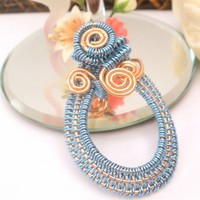 Handmade blue silvered copper all wire wrapped coiled oval pendant | catinalife - Jewelry on ArtFire
