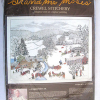 Grandma Moses Vintage 1980s Wall Hanging A Frosty Day Crewel Embroidery Reproduction Kit