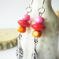 Pink Red Orange Wood Beads Antique Silver Leaves Earrings Spring | LittleApples - Jewelry on ArtFire