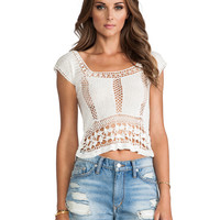 Lovers + Friends Calisto Crochet Top in Ivory
