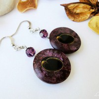 Earrings Buttons Dark Purple Marble Violet Black Eye Silver Unique | LittleApples - Jewelry on ArtFire