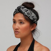 Hand Printed Turban with &#x27;Masks&#x27; Print on Black by thiefandbandit