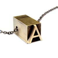 Letter A Letterpress Necklace - Brass Initial Personalized - Other Letters Available Fashion Jewelry