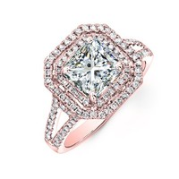 1.50 carat Princess & Round Brilliant Cut Diamond Double Halo Anniversary Engagement Ring in 14k Rose Gold