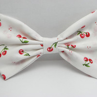 Cherry Hair Bow Clip Cherry Bow Clip Cherries Clip White Big Bows White Bow Red Fabric Bow for women fabric hair bow for teens Huge Bows