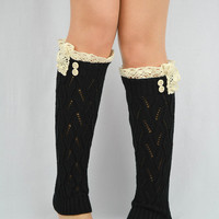 Lace Leg Warmers BLACK knitted boot socks women's legwarmers crochet lace trim socks cute buttons lace trim leg warmers button leg warmers