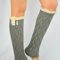 Grey Knitted boot socks Lace leg warmers Women's legwarmers lace socks trim buttons leg warmers lace legwarmers Light Grey Leg warmers cute