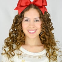 Red Headband Bow Satin Ribbon Headband cheer bow cheer headband Oversize hair bow huge hair bow statement headband gothic lolita bow girly