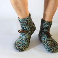 Hand-knitted woolen socks unisex size small , hand knit socks, wool socks, 6,5-8 US