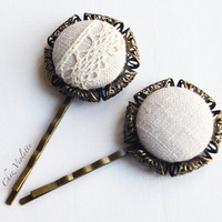 2 Button Bobby PinFrench Natural Linen Lace Hair Pin Hair Clip Accessories Jewelry Country Wedding
