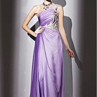 Buy In Stock Gorgeous GradientTenecl & Malay Satin & Transparent Net  A-line One Shoulder Neckline Floor-length Evening Dress  With Beads