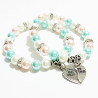 Best Friend Bracelets / Best Friends Jewelry / BFF Pearl Bracelets / Charm Bracelet / Personalized Jewelry / Best Friend Gift / Sister Gift