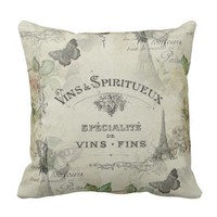 Paris Vintage Wine and Roses Pillow