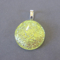 Dichroic Yellow Fused Glass Pendant, Yellow Pendant, Evening Pendant, Yellow Jewelry - Sparkly Lemon Chiffon - 3964 -2
