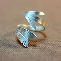 Twisting arrow sterling silver wrap ring