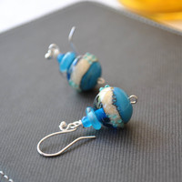 Ocean Ball Earrings, Lampwork Glass Earrings, Blue Earrings
