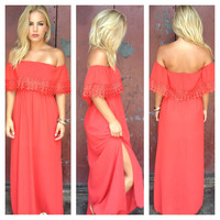 Red Eyelet Double Slit Maxi Dress