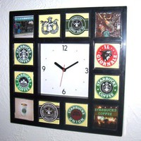 History of Starbucks Coffee Clock with 12 pictures : finalscore - ArtFire Housewares