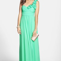 Way-In Rosette Strap One-Shoulder Gown (Juniors) (Online Only) | Nordstrom