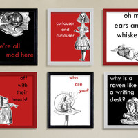 Alice in Wonderland 4x6 Quotes | Modern Art Print Set | Red Black White | Kids Room | Nursery | Home Decor | Baby Shower | Literature | Wall
