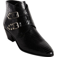 Python Studded Double Monk Ankle Boot