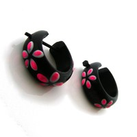 Handmade Pink Flamingoes Hoop Earrings with Hand-painted Enamel Accents (Black Wood)
