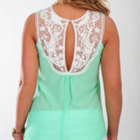 Fall From Lace Top: Spearmint | Hope's