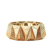 Gold and Pink Angular Stretch Bracelet