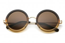 the row - round two-toned fade brown-yellow/brown leather ovsized round sunglass - The Row | 80's Purple