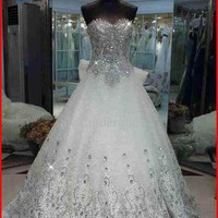 YZ luxurious a-line strapless Organza court rinestone beads Wedding Dresses from YZ Fashion Bridal