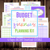 Printable Budget Planner-Family Budget Planner-Monthly Budget Planner-12 Sheets-BRIGHT-Instant Download & Editable