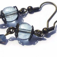 Gray Blue Glass Beads Small Dusky Antique Brass Earrings Grey | LittleApples - Jewelry on ArtFire