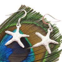 Bright Silver Plated Starfish earrings Perfect Beach Jewelry in Summer by SeaglassGallery