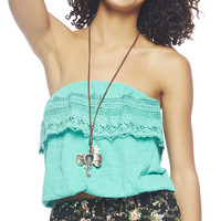Crochet Trim Tube Top | Wet Seal