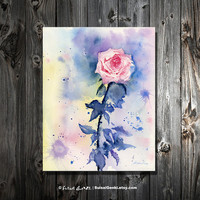 "Rose, Rose Color, 8x10, Giclee Print, Watercolor Painting by Suisai Genki, Red, Pink, Blue, Purple, Yellow, 8x10"", Wall Art"