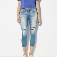 AEO Women's Hi-rise Jegging Crop (Medium Destroyed)