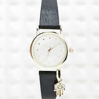 Hamsa Hand Charm Watch in Black - Urban Outfitters