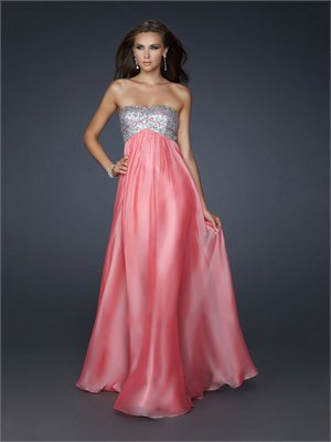 Strapless Sequined Bust and Gathering On Center Front Chiffon Prom Dress PD1789