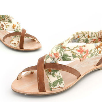 Leather and textile hand made ladies sandal Euro by Cholesburys