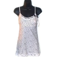 Polka Dot Tank Top White With Lace Trim Bow Faux Pearl Adornment Womens Clothing Medium