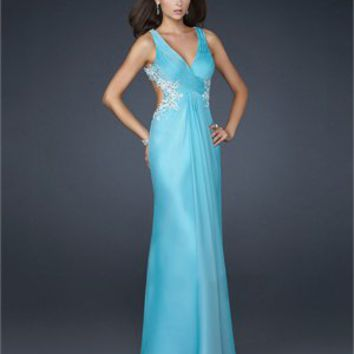 V-neck Pleating on the Bust Side Beaded Chiffon Prom Dress PD1793