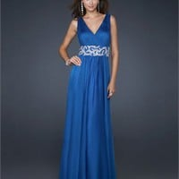 V-neck Front and Back neckline Beaded Waistband Chiffon Prom Dress PD1796