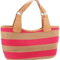 Magid Wide Stripe Paper Straw Tote 