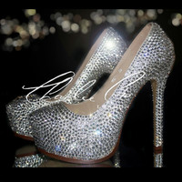 "Charlie Co. YSL Style 6"" Platform Swarovski & Glass Clear Diamond Crystal High Heels Evening Amazing Strass Shoes Bridal Wedding Prom Party"