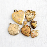 Vintage Gold Filled Locket Lot- 1930s to 1970s Lot of Pendants for Repair- Hearts, Floral, Embossed, Religious, Round