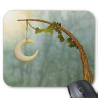 Crescent Moon Hanging On A Tree Mousepad