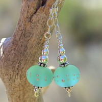 Handmade Pale Emerald Green Lampwork Earrings Sea Glass Beaded Jewelry | ShadowDogDesigns - Jewelry on ArtFire