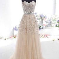 Champagne Sequins Long Prom Dress Evening Cocktail Dress Wedding Bridesmaid Gown