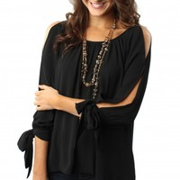 Sleeve Tie Black Blouse